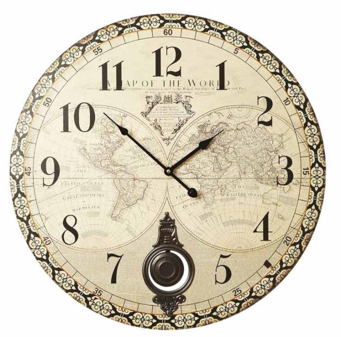 Large rustic wooden distressed effect atlas world map wall clock large rustic wooden distressed effect atlas world map wall clock metal pendulum gumiabroncs Gallery