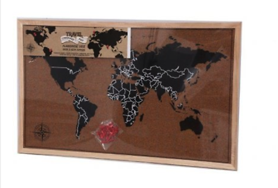Framed cork board world wall map travel pin board with pins 1075 publicscrutiny Choice Image